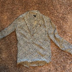 Leopard print silk button down from J Crew